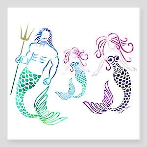 "Mystical Mermaid Family Square Car Magnet 3"" x 3"""