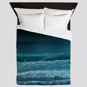 Night  Ocean Waves Queen Duvet
