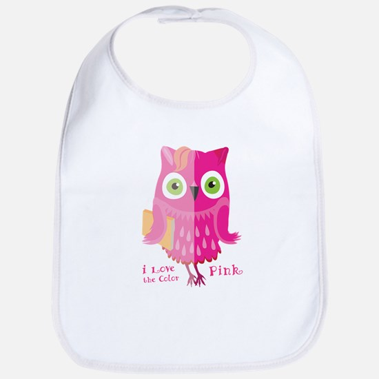 I love the color. Pink owl. Baby Bib