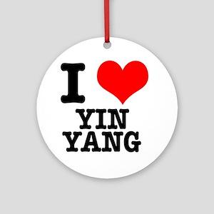 I Heart (Love) Yin Yang Ornament (Round)