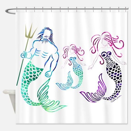 Mystical Mermaid Family Shower Curtain