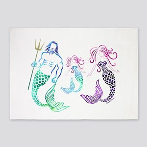 Mystical Mermaid Family 5'x7'Area Rug