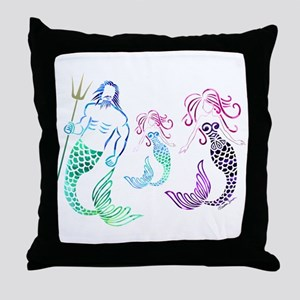 Mystical Mermaid Family Throw Pillow