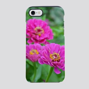 Pink zinnia flowers iPhone 7 Tough Case