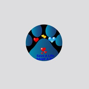 blue paw with hearts save a life Mini Button