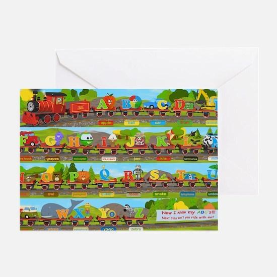 Alphabet Train Poster XL, 36x24, Gre Greeting Card