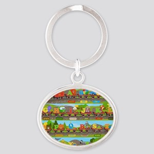 Alphabet Train Poster XL, 36x24, Gre Oval Keychain