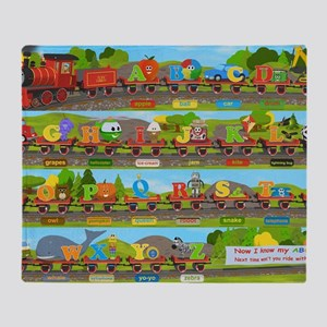 Alphabet Train Poster XL, 36x24, Gre Throw Blanket