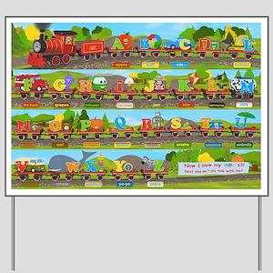 Alphabet Train Poster XL, 36x24, Great T Yard Sign