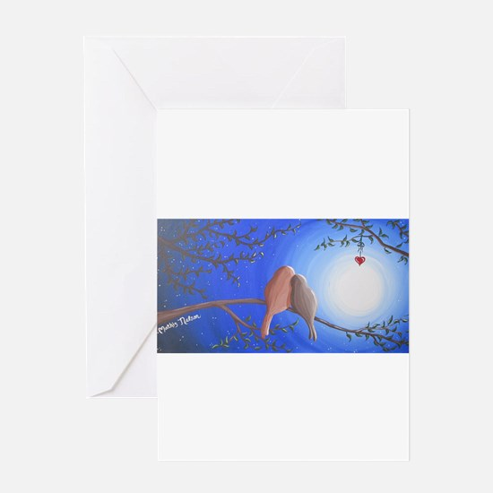 Love Birds in the Moonlight Greeting Cards