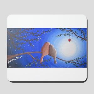 Love Birds in the Moonlight Mousepad