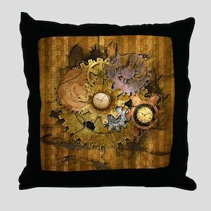 Steam Dreams: Gear Wall Throw Pillow
