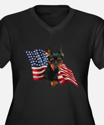 Min Pin Flag Women's Plus Size V-Neck Dark T-Shirt
