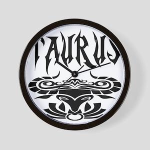 Taurus black letters Wall Clock