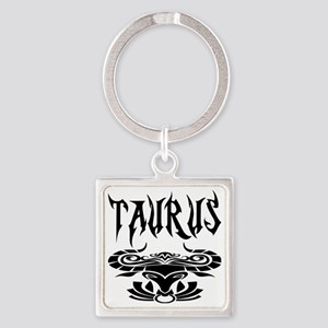 Taurus black letters Square Keychain