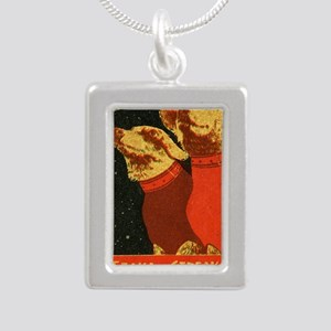 Belka and Strelka Silver Portrait Necklace