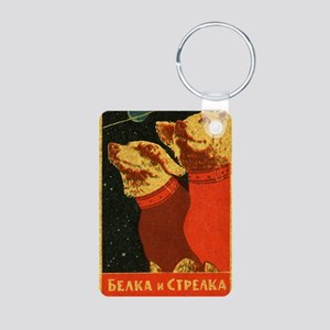 Belka and Strelka Aluminum Photo Keychain