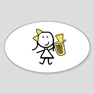 Girl & Baritone Oval Sticker