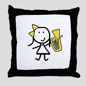 Girl & Baritone Throw Pillow