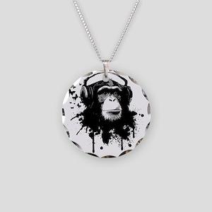 Headphone Monkey Necklace Circle Charm