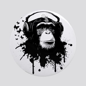 Headphone Monkey Round Ornament