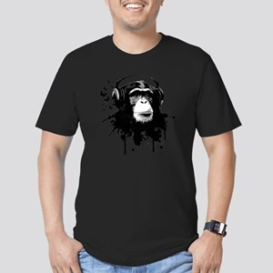 Headphone Monkey Men's Fitted T-Shirt (dark)