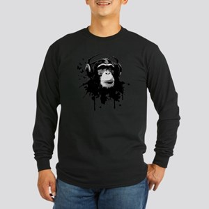 Headphone Monkey Long Sleeve Dark T-Shirt