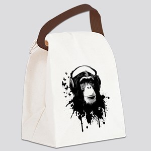 Headphone Monkey Canvas Lunch Bag