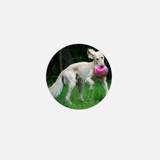 Ears-Out Saluki Ball Play Mini Button