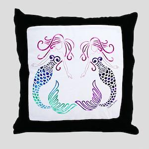 Mermaid Gals Throw Pillow