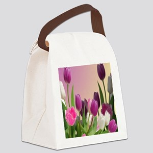 Purple and White Tulips Canvas Lunch Bag