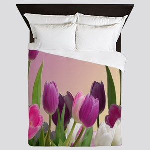 Purple and White Tulips Queen Duvet