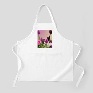 Purple and White Tulips Apron