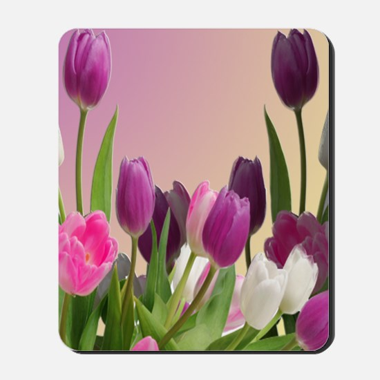 Purple and White Tulips Mousepad