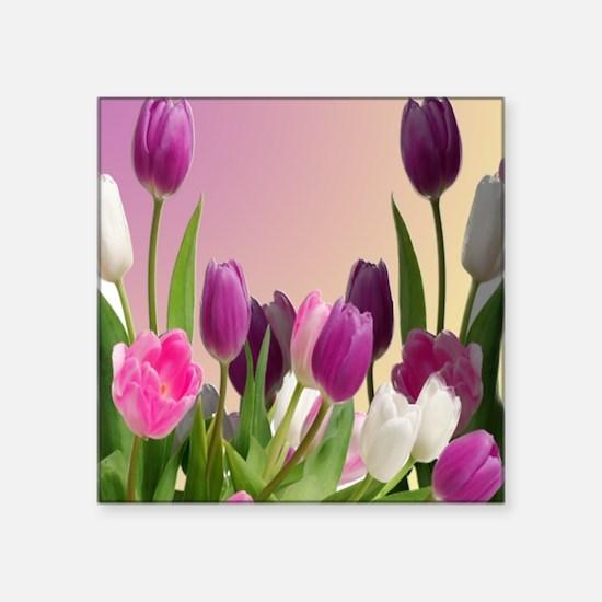"""Purple and White Tulips Square Sticker 3"""" x 3"""""""