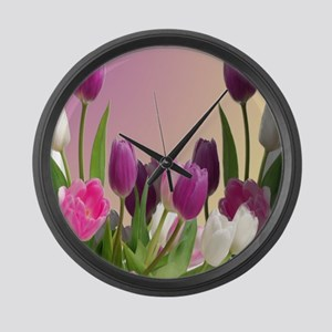 Purple and White Tulips Large Wall Clock