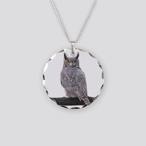 Great Horned Owl-1 Necklace Circle Charm