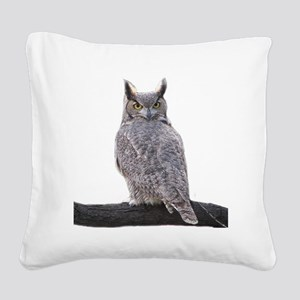 Great Horned Owl-1 Square Canvas Pillow