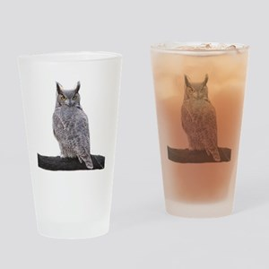 Great Horned Owl-1 Drinking Glass