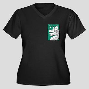 Green Puffing Dragon Women's Plus Size V-Neck Dark
