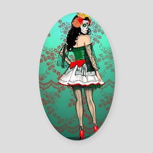 Dia De Los Muertos Stockings Pin-u Oval Car Magnet