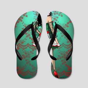 Dia De Los Muertos Stockings Pin-up Flip Flops