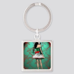 Dia De Los Muertos Stockings Pin-u Square Keychain
