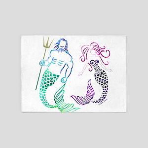 Mermaid Couple 5'x7'Area Rug