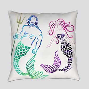 Mermaid Couple Everyday Pillow
