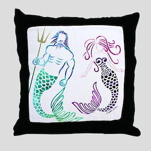 Mermaid Couple Throw Pillow