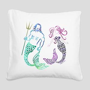 Mermaid Couple Square Canvas Pillow