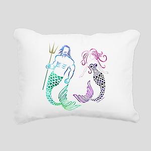 Mermaid Couple Rectangular Canvas Pillow