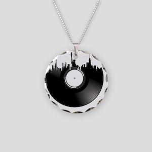 New York City Vinyl Record Necklace Circle Charm