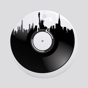 New York City Vinyl Record Round Ornament
